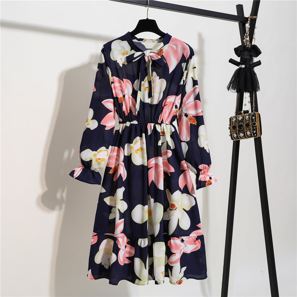 Vintage Spring Summer Party Dress Women Fashion Chiffon Midi Tunic Floral Dot Slim Long Sleeve Office High Elastic Waist Dress