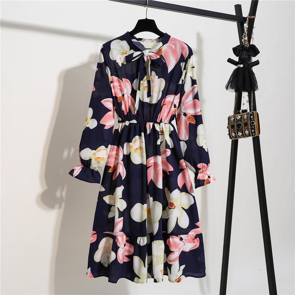 Vintage Spring Summer Party Dress Women Fashion Chiffon Midi Tunic Floral Dot Slim Long Sleeve Office High Elastic Waist Dress