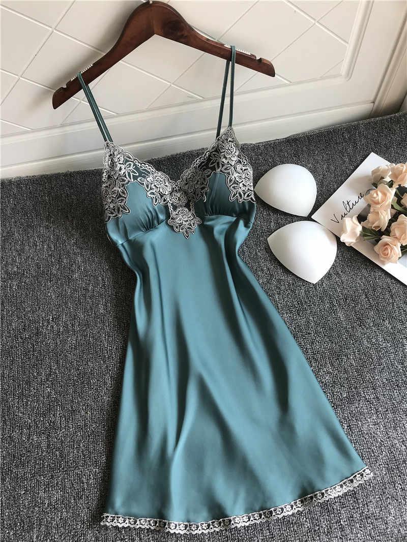 Nuisette robes de nuit bleu Homewear mignon chemises de nuit femmes chemise de nuit femme Sexy fronde chemises de nuit dames Lingerie robe de nuit
