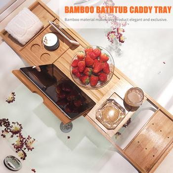 Wanna Caddy tacy bambusa wanna Spa Organizer do wózka książki wina uchwyt na Tablet czytanie stojak przeciwpoślizgowe dole wysuwane stron tanie i dobre opinie CN (pochodzenie) BAMBOO Bathtub Caddy Tray 5Kg 11 02lb