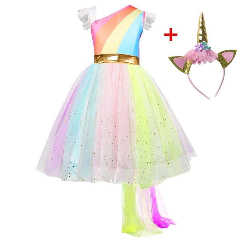 Cô Gái Kỳ Lân Lạ Mắt Đầm Rainbow ĐÍNH HẠT CƯỜM Tutu Cưới Trang Phục Hóa Trang Với Dây Đeo Đầu Đảng Đầm Trẻ Em Trẻ Em Halloween Áo Choàng