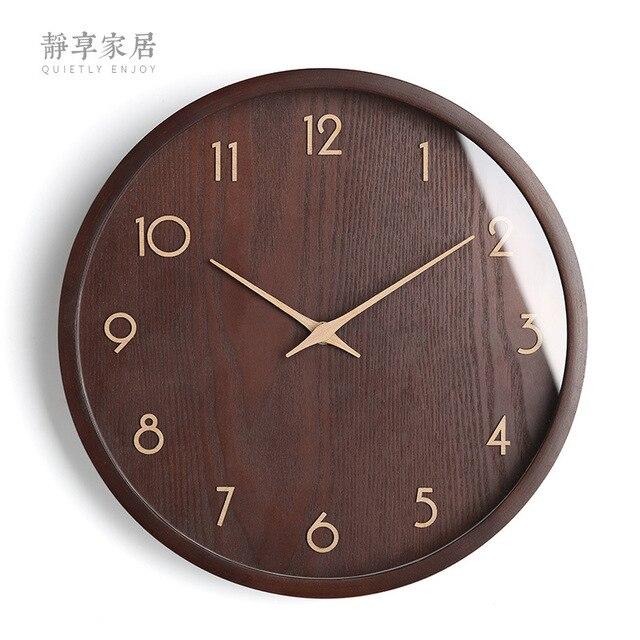Large Wood Wall Clock Retro Noridc Modern Kitchen Clock Mahogany Surface Shabby Chic Clocks Wall Home Decor Horloge Gift Fz804 Wall Clocks Aliexpress