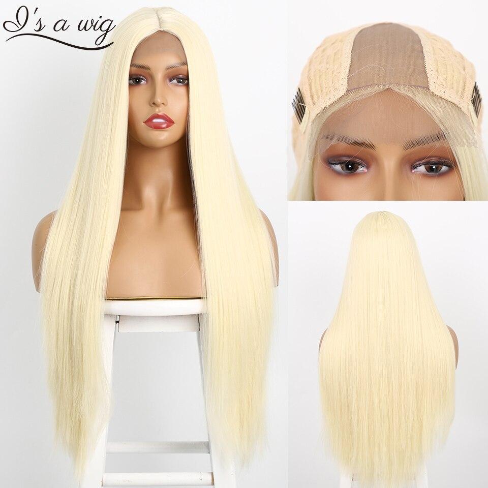 I é uma peruca longa reta sintética frontal, 60 loira/preta/rosa resistente ao calor peruca de peça natural para mulheres