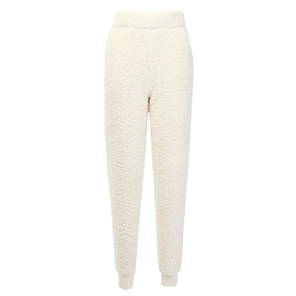 Autumn And Winter New Solid Fur Beam Foot Toothpick Pants Female Street Lamb Hair Casual Pants Winter Warm Soft Wool Pants Femme