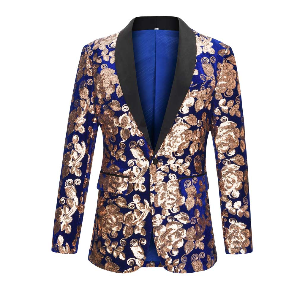 Shawl Lapel Velvet Men Blazer Shiny Gold Sequin Glitter Blazer Men Wedding Party Stage Singers Suit Jacket Blazer Masculino