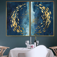 Абстрактная Золотая Рыба большая синяя Картина на холсте плакаты