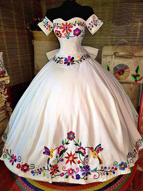Fabulous White 3D Flowers Ball Gown Mexican Quinceanera Prom Dresses Embroidery Sweet 16 Dress Vestidos 15 Anos