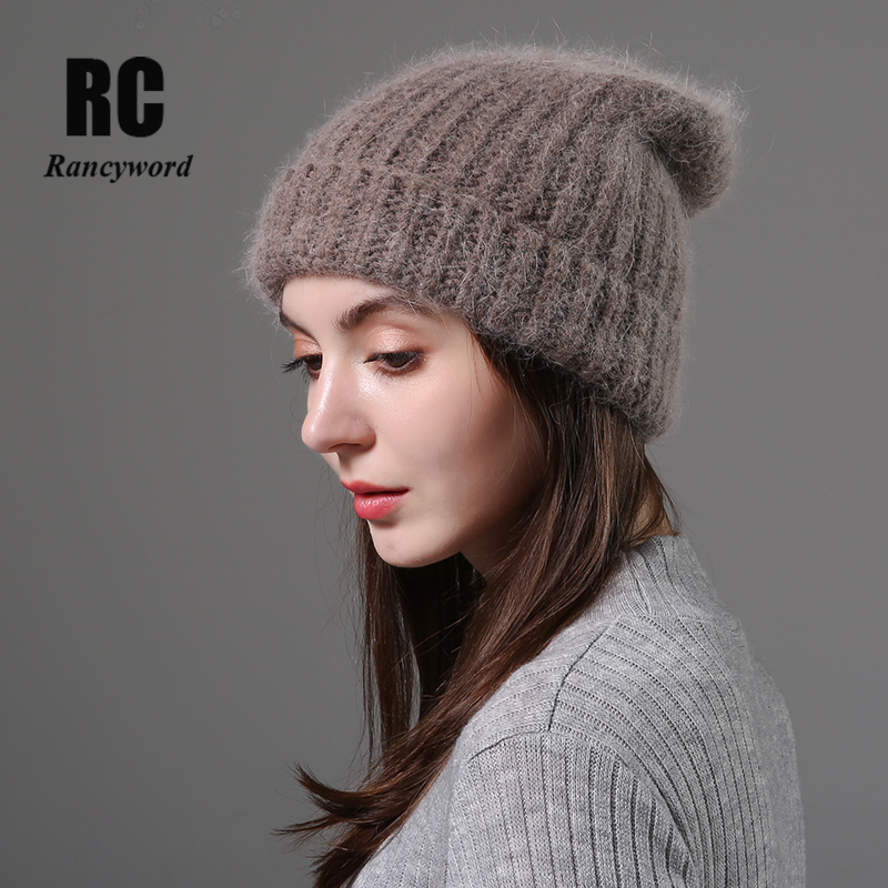 [Rancyword] Winter Hats For Women Wool Knitted Angora Hat Beanies Female Warm Rabbit Fur Skullies Beanie For Girl 2019 RC2081