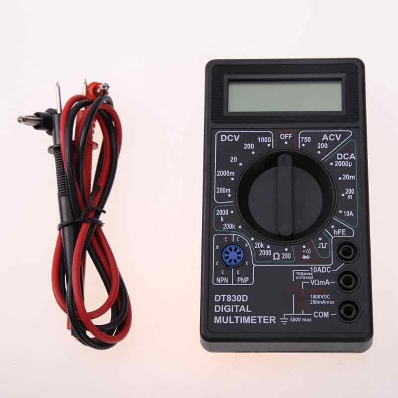 Dt830d 미니 디지털 멀티 미터 1999 카운트 dc ac 전압 암페어 옴 트랜지스터 테스터 전압계 전류계 과부하 보호