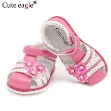 Sandália de couro eagle para meninas, sapatos de verão ortopédicos para bebês meninas com dedo fechado 26 novos 2020