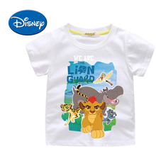 Disney Lion King Character Kids Short Sleeve T-shirts Cotton Print Summer Breathable Simba Clothing