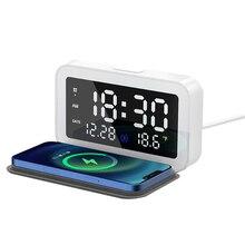 Vogek Drahtlose Ladegerät mit LED Wecker Thermometer Digital 15W Schnelle Lade Drahtlose Ladegerät für iPhone 12 Huawei Samsung