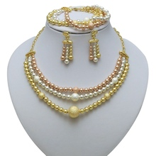 Yulaili 2019 New Round Shape Dubai Gold Necklace Earrings Bracelet for Women Fashion African Wedding Costume Bridal Jewelry Sets