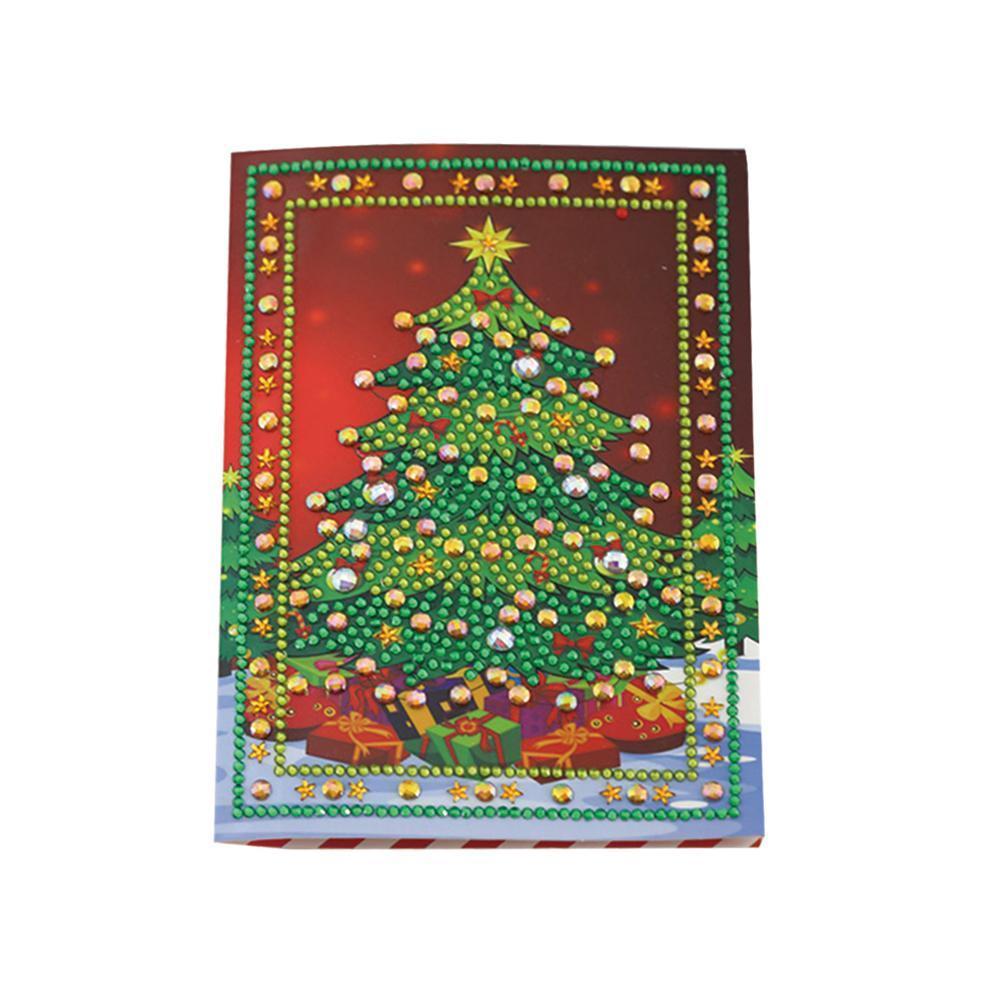 1pcs 5D DIY Diamond Painting Xmas Tree Elk Santa Claus Christmas Card Bell Greeting Creative Gift Card U3B7