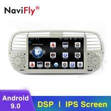 Autoradio multimédia à écran IPS, DSP, wifi, BT, Android 9, avec caméra DVR, avec vue DVD, pour voiture FIAT 500