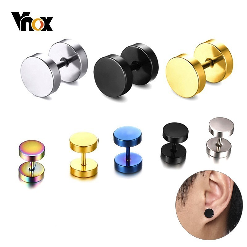 Vnox Fashion Stainless Steel Stud Earrings for Women Men Barbell Darbell Punk Gothic Retro Brincos - Earrings For Men