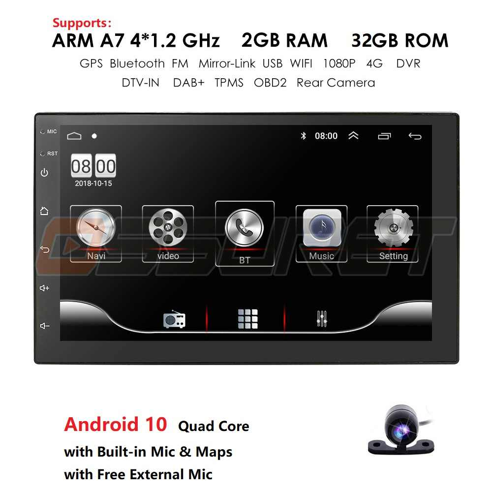 Hizpo 2 Din Auto Radio Android Universele Gps Navigatie Bluetooth Touchscreen Wifi Car Audio Stereo Fm Usb Auto Multimedia Dab + Mic