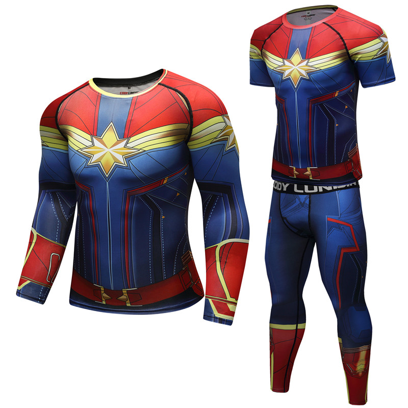 New MMA GYM Rushguard Men Captain America Superhero Short Sleeve Shirt Boxing