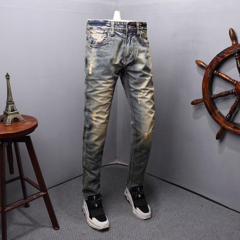 Fashion Streetwear Men Jeans Retro Yellow Wash Destroyed Ripped Jeans Men Slim Fit Italian Style Vintage Designer Jeans Homme