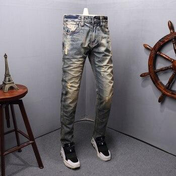 Fashion Streetwear Men Jeans Retro Yellow Wash Destroyed Ripped Jeans Men Slim Fit Italian Style Vintage Designer Jeans Homme zips embellished destroyed jeans