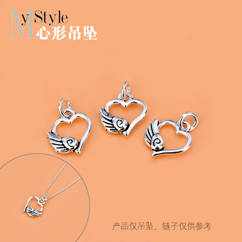 Jewelry DIY accessories material pack 925 pure silver wings heart-shaped pendant ethnic boudoir Jewelry Necklace Pendant image