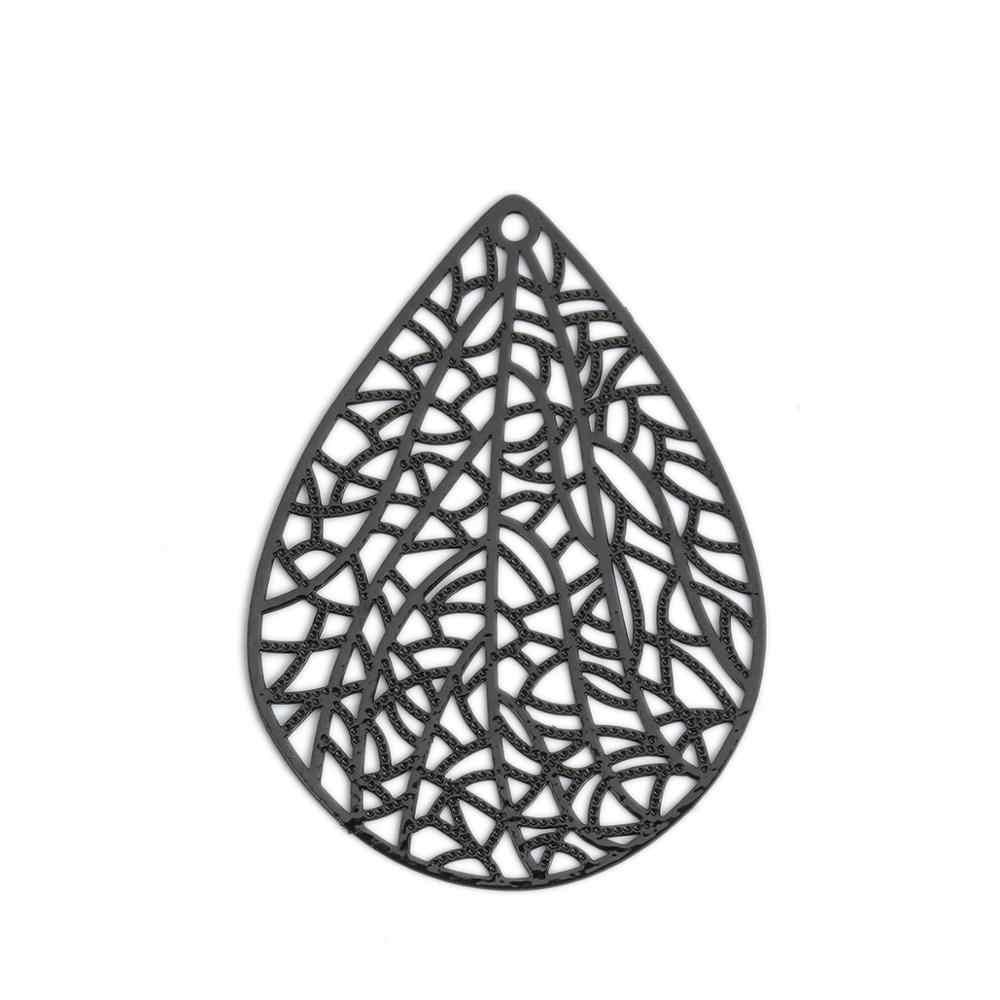 DoreenBeads ファッション銅ーサースタンピングフィリグリーペンダント黒、白、青ドロップジュエリー DIY 所見チャーム 40 ミリメートル × 30 ミリメートル、 10 個