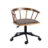 Natural Wood Simple Modern Computer Chair Home Nordic Lifting Armchair Computer Chair with Universal Wheel Egg Chairs
