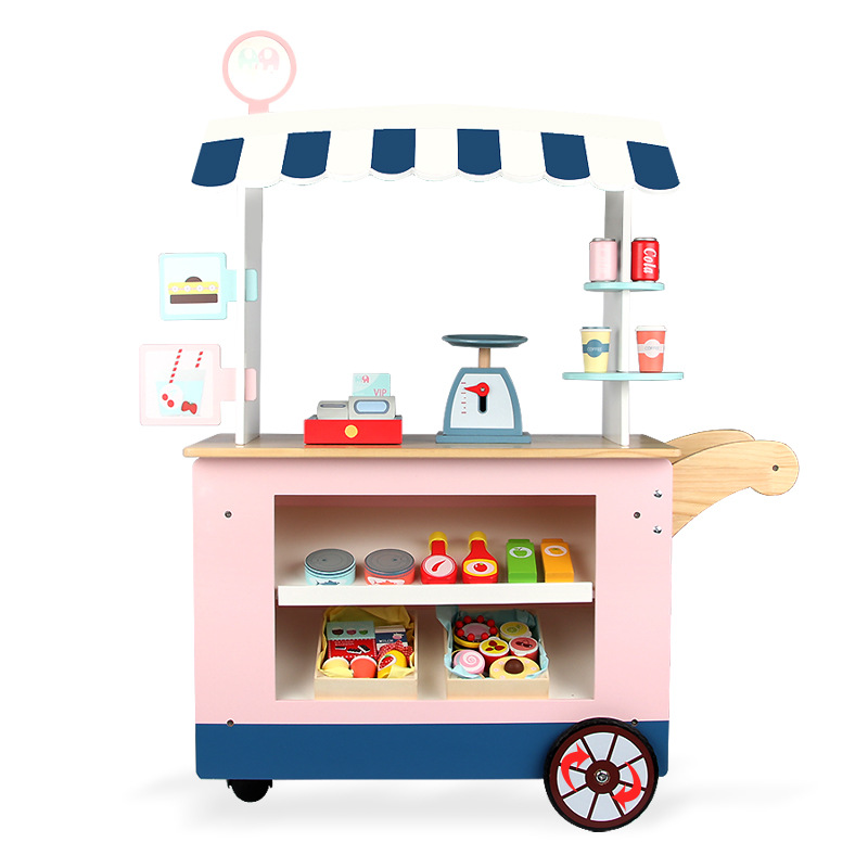 Wooden Children's Educational Simulation Stall Convenience Store Stroller Play House Cognitive Toy Candy Car Dollhouse 1/12