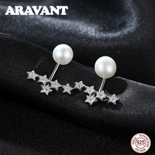 925 Sterling Silver Star Stud Earring For Women Freshwater Pearl Earrings Jewelry 2 Colors