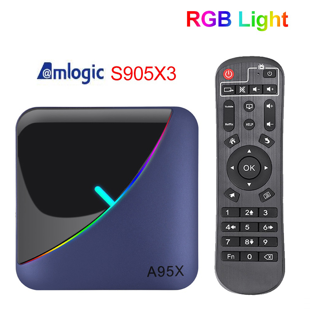 A95X F3 Android 9,0 RGB Licht Smart TV Box 4GB 64GB Amlogic S905X3 Wireless TVBox 4K USB 3,0 H.265 Netflix Youtube Media Player