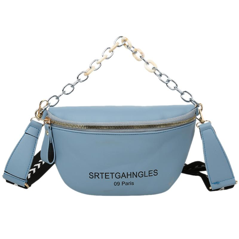 Fashion PU Leather Women Fanny Shoulder Bag Tidy Simple And Generous In Appearance Letters Zipper Purse Crossbody Packs