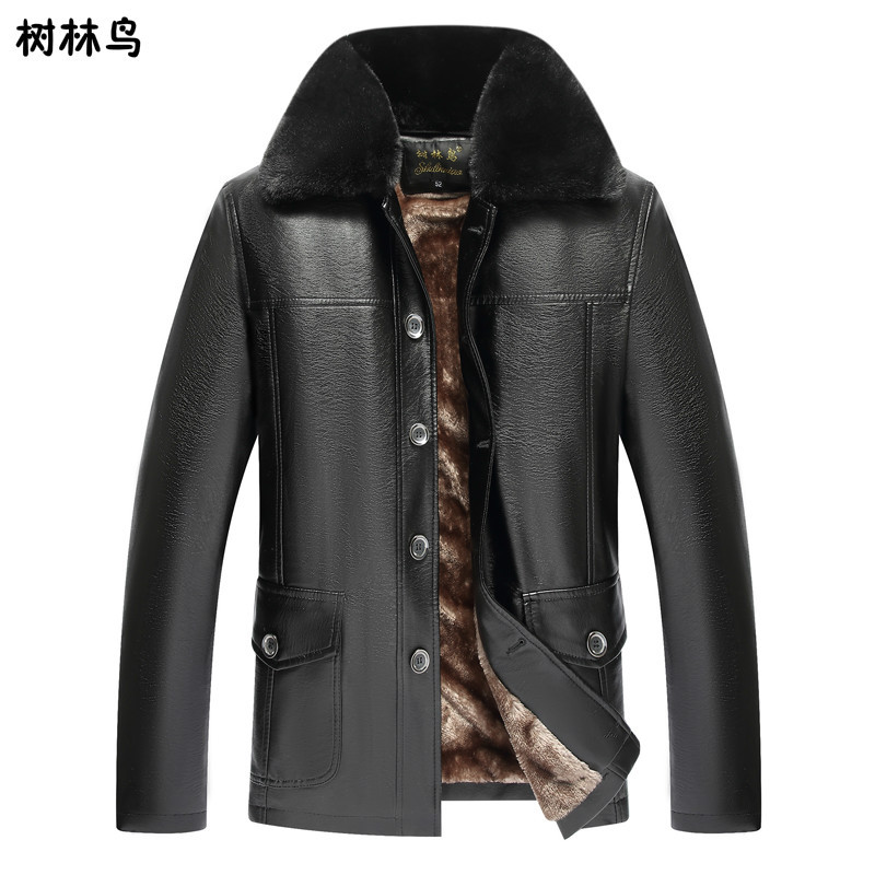 Woods Bird Middle-aged Men Mid-length Plus Velvet Fold-down Collar Business Leather Coat Leather Jacket Coat