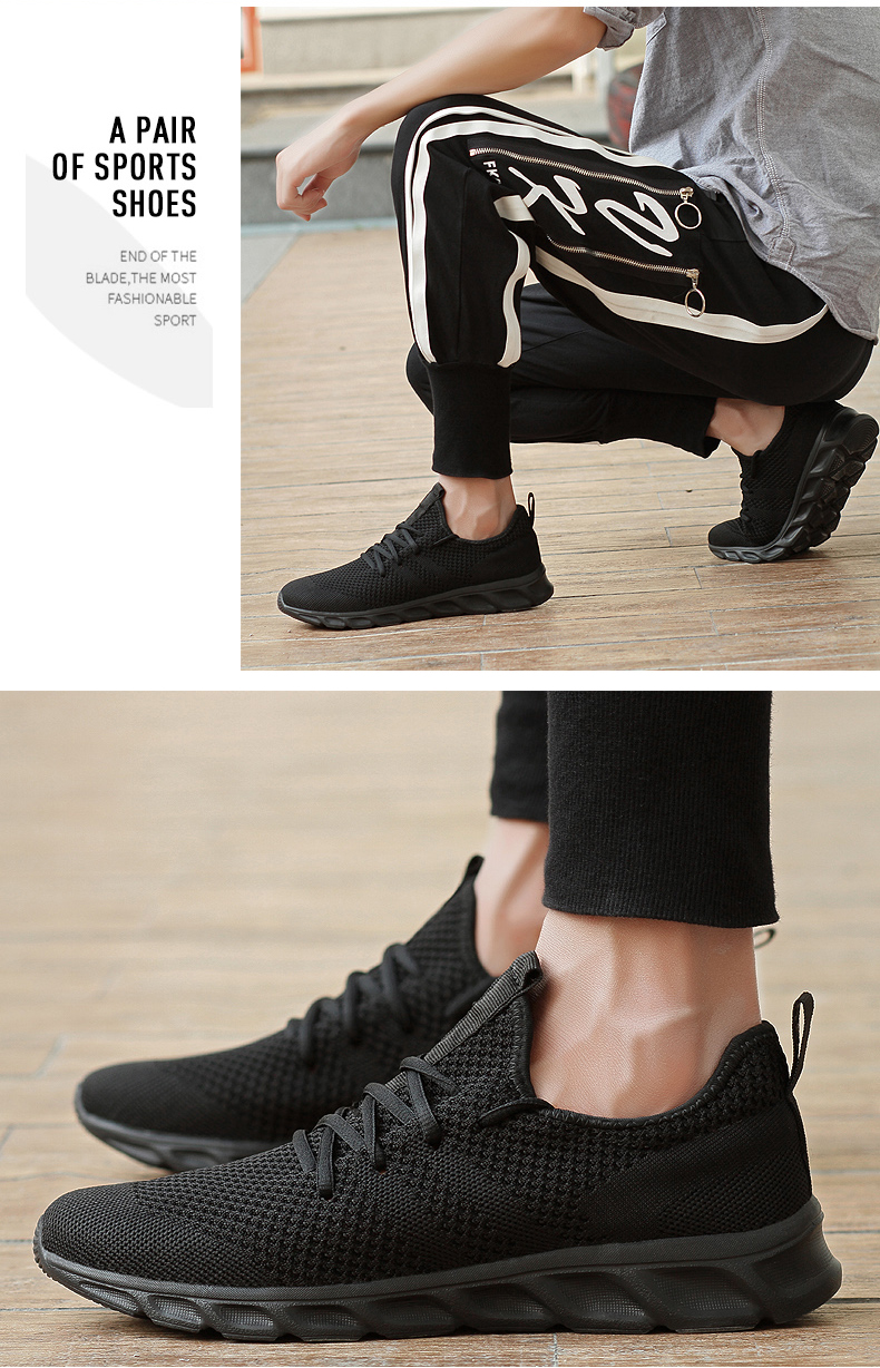 Hede53c1b995448d3be3d9a9465fe1854X Men Light Running Shoes Flyknit Breathable Lace-Up Jogging Shoes for Man Sneakers Anti-Odor Men's Casual Shoes Drop Shipping