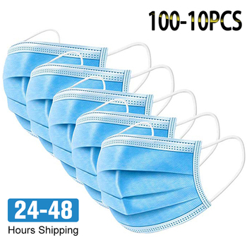 10-100PCS 3 layer Non Woven Disposable Mask Anti Dust Smell Face Gas Masks Protection Fabric Dust Protective Mask Mascarillas