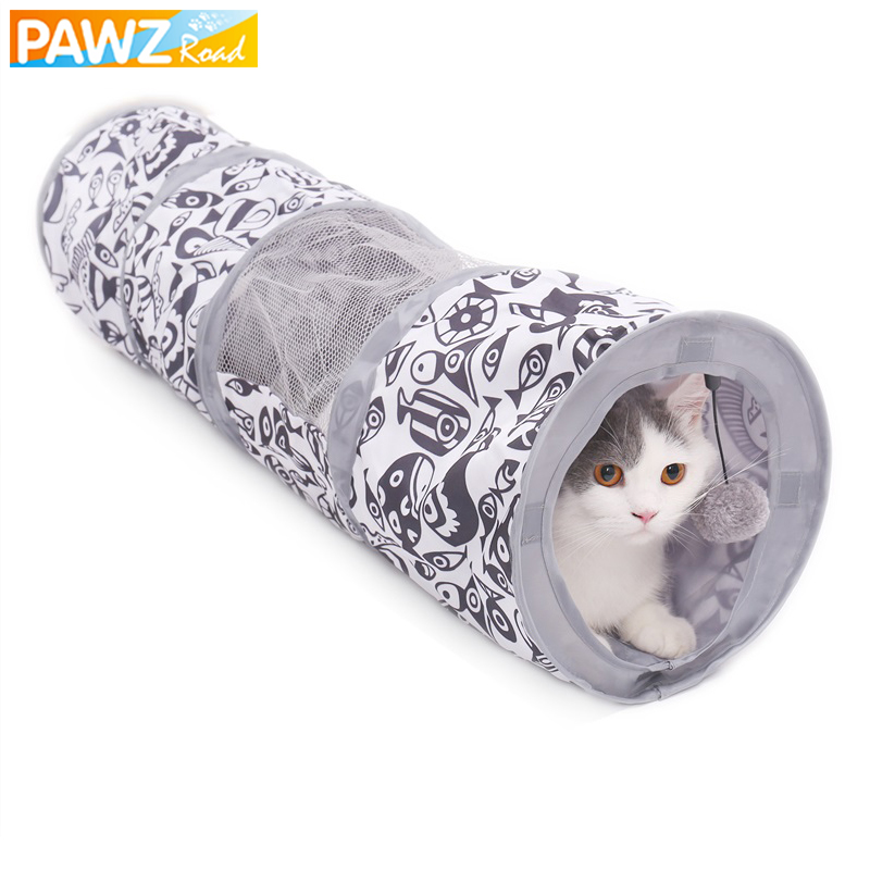 Pet Cat Tunnel Toy for Cat Kitten Fish Pattern Mesh Collapsible Interactive Cat Tunnel Toy with Playing Ball Training for Rabbit image