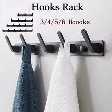 3/4/5/6 ganchos de montagem na parede gancho organizador casaco toalha chapéu roupas pendurado rack banheiro cozinha prático gancho titular