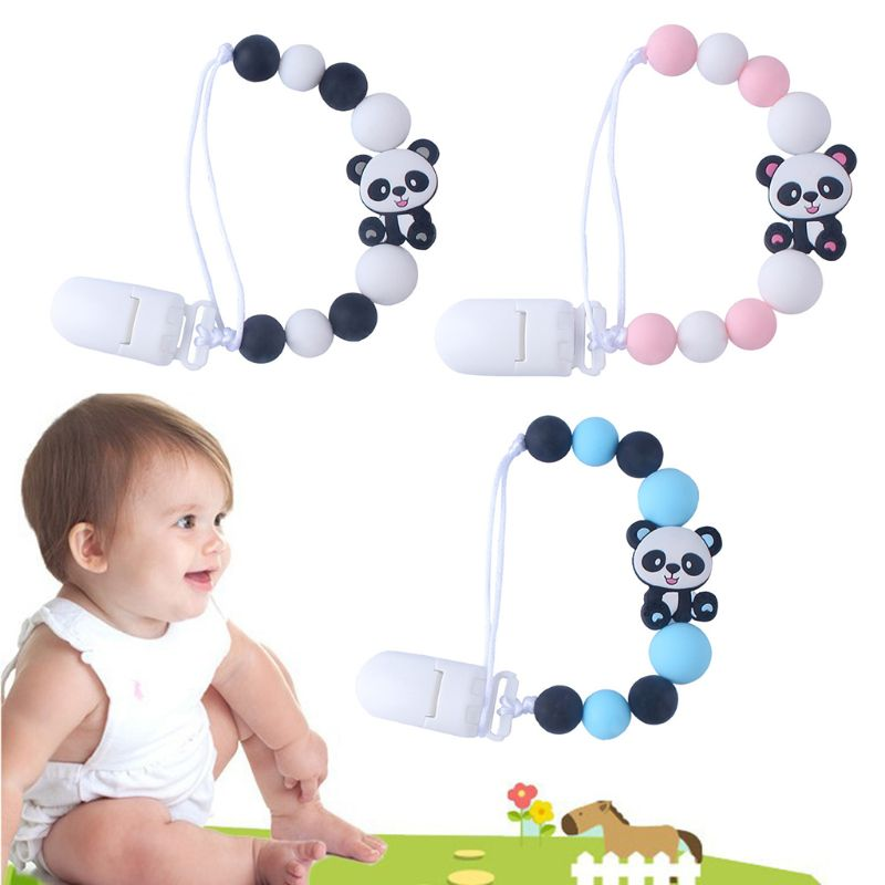 Cute Baby Pacifier Chain Silicone Cartoon Panda Infants Newborn DIY Nipple Clip