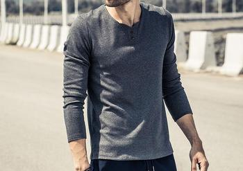 2020 New design Spring Autumn men solid color Cotton long sleeve T-shirt
