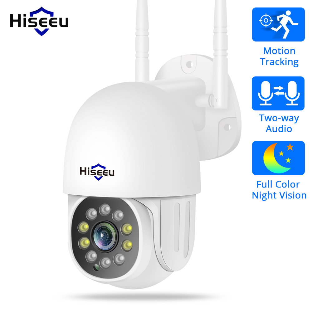 Hiseeu 1080P 2MP PTZ WiFi Speed Dome IP Camera Outdoor Wireless CCTV Security Video Surveillance Network Camera P2P 2 Way Audio