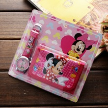 New Children Cartoon Wallet Watch Set Spiderman Mickey mouse Minnie kids Watches Students Birthday Gifts Quartz Leather Clock  цена и фото