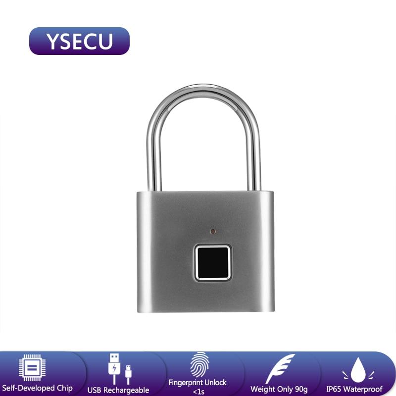 YSECU Fingerprint Smart Padlock USB Charging Door Lock Zinc Alloy Metal Portable Anti-Theft Fingerprint Lock For Drawer Bag