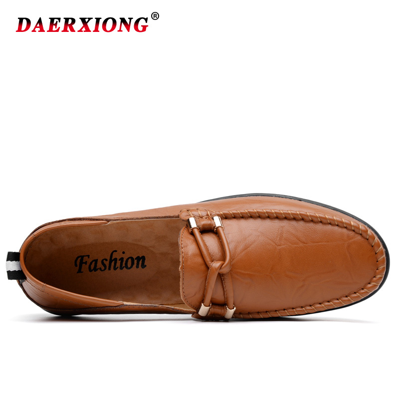 Men Leather Shoes Casual 2019 New Men Loafers Flat Breathable Slip on Solid Soft Mocasines Boat Shoes Chaussure Homme in Men 39 s Casual Shoes from Shoes