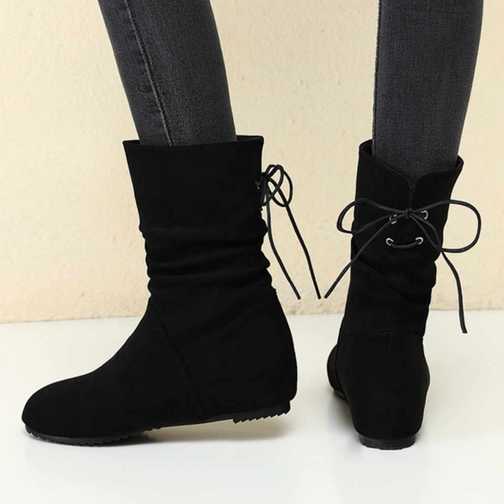 Moda cor pura camurça outono botas de inverno para mulher dedo do pé redondo laço-up rebanho botas de salto plano de fundo botas femininas vintage