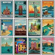 5D DIY nowy jork holandia Amsterdam londyn diament malarstwo Vintage europa ameryka miasta krajobraz ściegu wystrój domu