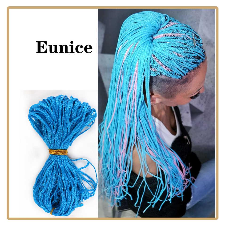 Eunice Zizi Kepang Kotak Panjang Kepang Sintetis Crochet Braid Rambut Ekstensi Ungu Pink Crochet Rambut Mengepang Zizi Rambut Kepang