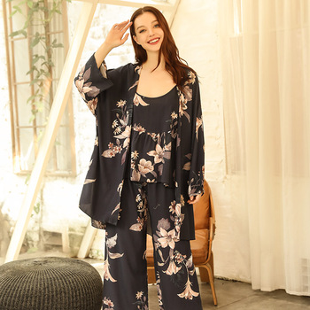 Women Comfort Soft Loose Rayon Pajamas Set Elegant Floral Printed 2020 Spring And Autumn New Ladies Homewear Tender Casual Wear tender babies baby girl clothing 3pcs set quilted jacquard hooded gilet and legging with rib cuff and soft printed floral t shir