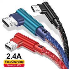 2M 90 Degree Micro USB Cable Fast Charging For Samsung S6 Xiaomi Redmi Android Phone Data Cord Charger Microusb Cable 1M 0.25M