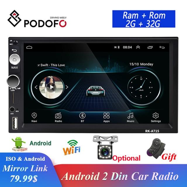 Podofo راديو السيارة GPS ، راديو مع مشغل MP5 ، Android ، شاشة 7 بوصة ، بلوتوث ، فيديو ، مستقبل ستيريو ، 2din ، لشركة Hyundai ، Nissan ، TOYOTA ، Kia ، Honda ، VW