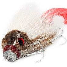 Novo pique pesca com mosca 35g/17cm material do cabelo dos cervos grande mouse seco mosca ganchos com resina isca truta mosca pesca moscas 6 cores