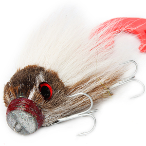 Image 1 - Novo pique pesca com mosca 35g/17cm material do cabelo dos cervos grande mouse seco mosca ganchos com resina isca truta mosca pesca moscas 6 cores